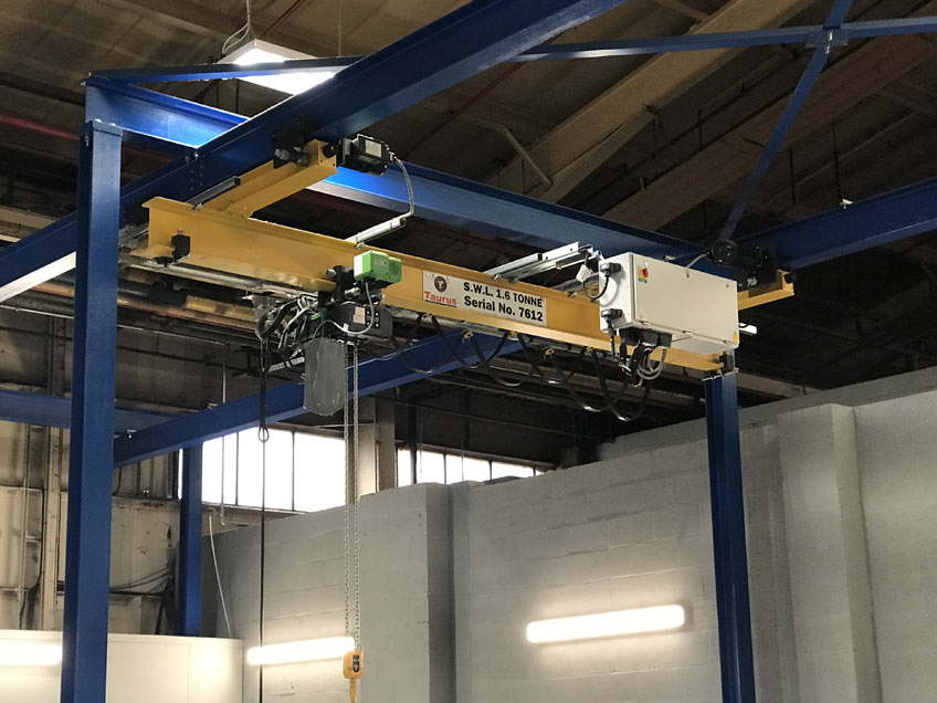 An overhead crane installed completed by Taurus Cranes engineers.