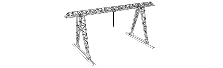 A illustration of an indoor gantry crane.