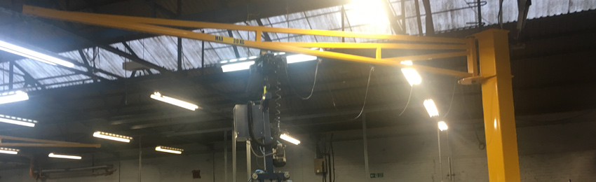 A completed installation of a swing jib by Taurus Cranes engineers.